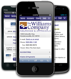 Mobile insurance website for The Williams Company at m.thewilliamscompany.net